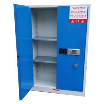 成霖 灰/蓝色毒品柜,双门/手动,45加仑/107升,2块可调层板,3块托盘,尺寸H165*W109*D46cm,CLD10104
