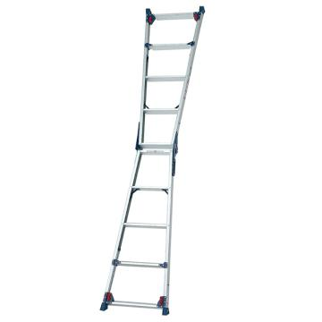 四脚调节式两用梯,(人字梯兼用直梯)(双侧宽幅踏步55mm)梯全长:2.63-3.27m 缩长:1.24-1.55m 重量:7.2kg