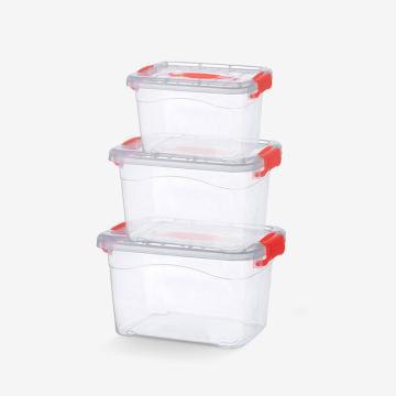 收纳箱, 透明塑料收纳盒带盖子零食储物盒 -大中小组合-3只装DS235(红/蓝颜色随机) 单位:套