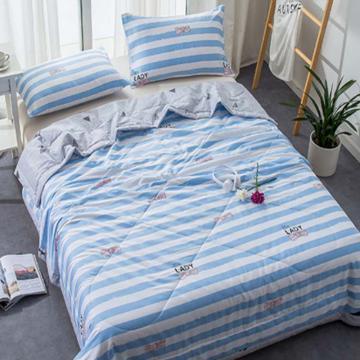 全棉活性印花夏凉被 单双人空调被 纯棉夏被薄被芯 爱恋蓝  1.5*2m