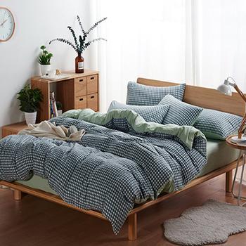 北欧简约水洗棉 三件套, 超柔亲肤泡泡纱床单  1.5米被套160*230床单三件套