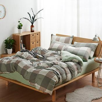 北欧简约水洗棉 四件套, 超柔亲肤泡泡纱床单 1.8米被套230*240床单四件套