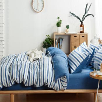 北欧简约水洗棉 四件套, 超柔亲肤泡泡纱床单 2.0米被套230*240床单四件套