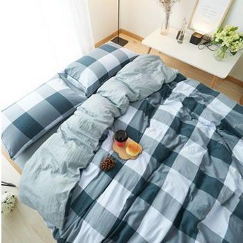 日式无印纯棉格子水洗棉 四件套被套床单 被套200*230 床单240*250 枕套48*74*2