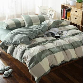 水洗棉四件套,水洗大綠格 2.0米床被套200*230 床單230*230 枕套48*74*2