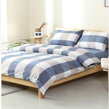 水洗棉四件套,水洗蓝大格 2.0米床被套200*230 床单230*230 枕套48*74*2