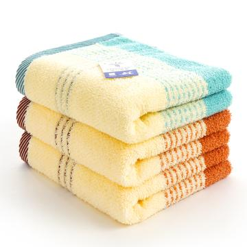 金號 毛巾家紡,緞彩條毛巾0120三條裝棕、綠 (帶盒子及手提袋)