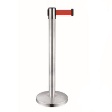安賽瑞 伸縮帶隔離柱,鏡面不銹鋼,紅色帶長2m,立柱Ф63×910mm,底盤Ф320mm,14494