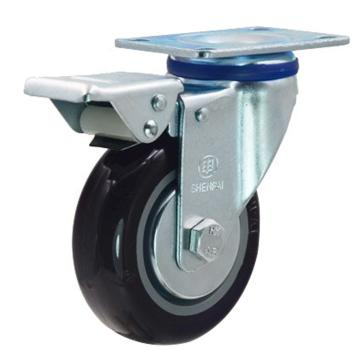 申牌 5寸尼龙中型脚轮,平底刹车,载重(kg):145,轮宽(mm):32,全高(mm):160