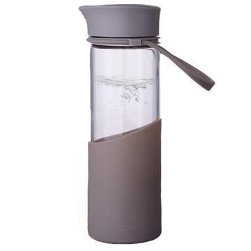 MiGo 享悦系列便携无铅健康玻璃水瓶 0.5L - 暖茶灰 单位:个