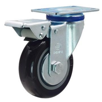 申牌 4寸尼龙中型脚轮,平底刹车,载重(kg):135,轮宽(mm):32,全高(mm):135