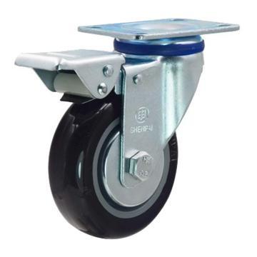 申牌 3寸尼龙中型脚轮,平底刹车,载重(kg):105,轮宽(mm):30,全高(mm):108