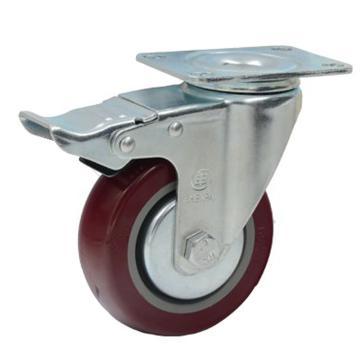申牌 5寸聚氨酯中型脚轮,平底刹车,载重(kg):145,轮宽(mm):32,全高(mm):160