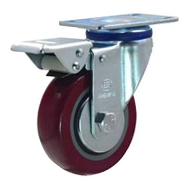 申牌 4寸聚氨酯中型脚轮,平底刹车,载重(kg):135,轮宽(mm):32,全高(mm):135