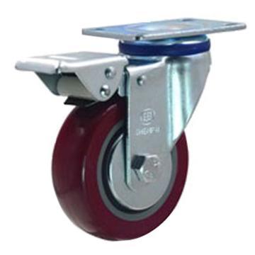 申牌 3寸聚氨酯中型脚轮,平底刹车,载重(kg):105,轮宽(mm):30,全高(mm):108