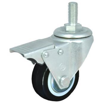 2.5寸聚氨酯轻型脚轮,丝杆刹车M12,载重(kg):40,轮宽(mm):25,全高(mm):90