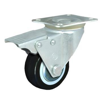 申牌 2.5寸聚氨酯轻型脚轮,平底刹车,载重(kg):40,轮宽(mm):25,全高(mm):85