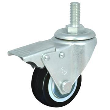 2寸聚氨酯轻型脚轮,丝杆刹车M12,载重(kg):35,轮宽(mm):25,全高(mm):77