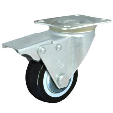2寸聚氨酯轻型脚轮,平底刹车,载重(kg):35,轮宽(mm):25,全高(mm):72