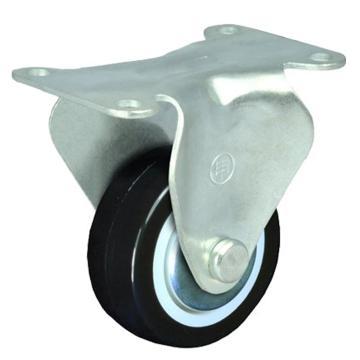 申牌 2寸聚氨酯轻型脚轮,平底固定 载重(kg):35 轮宽(mm):25 全高(mm):72,15A03-1010