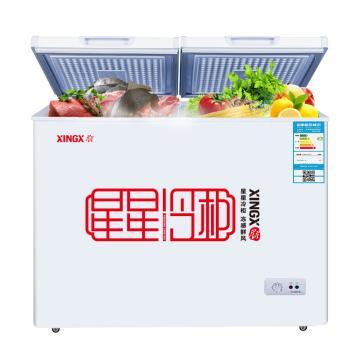 星星 195L商用家用双箱双温卧式二合一冷柜,BCD-195E,左冷冻右冷藏,顶开门