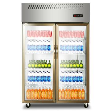 星星 880L商用双门厨房全冷藏立式不锈钢玻璃门展示柜,BC-880E