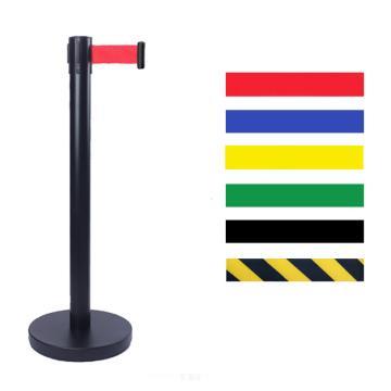 警士盾 黑色烤漆伸缩带隔离栏-底盘Ф350mm,高900mm,立杆Ф76mm,带长5m,织带黄黑相间色