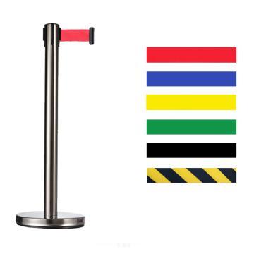 警士盾 不锈钢伸缩带隔离栏-底盘Ф350mm,高900mm,立杆Ф76mm,带长5m,织带黄黑相间色