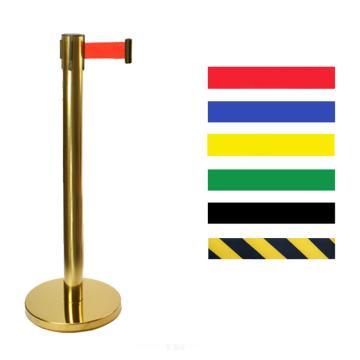 钛金色伸缩带隔离栏-底盘φ310mm,高900mm,立杆φ63mm,带长2m,织带黄黑相间色