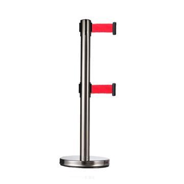 警士盾 不锈钢双层伸缩带隔离栏-底盘Ф310mm,高900mm,立杆Ф63mm,带长2m,织带红色