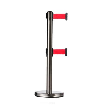 警士盾 不锈钢双层伸缩带隔离栏-底盘Ф310mm,高900mm,立杆Ф63mm,带长3m,织带红色