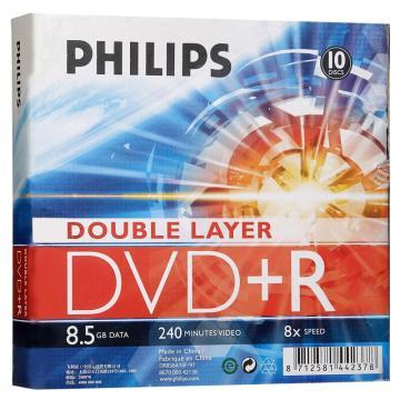 飛利浦 光盤,DVD+R 8.5/8X 10片裝 空白刻錄盤 單位:桶