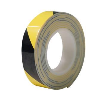 安赛瑞 防撞缓冲警示胶带,泡棉材质,自带背胶,厚3mm,30mm×3m,黄/黑,12065