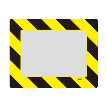 库位定位地贴(A4)-耐磨PVC材质,自带背胶,黄黑条纹,398×312mm,可覆盖A4纸张