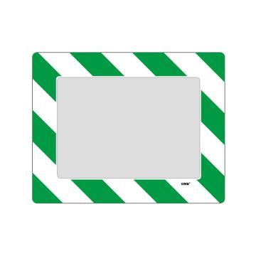 库位定位地贴(A4)-耐磨PVC材质,自带背胶,绿白条纹,398×312mm,可覆盖A4纸张
