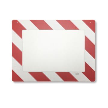 悬挂式区域标识框(A3-红白)-透明PC材料,可插入A3纸张,红白边框,398×522mm
