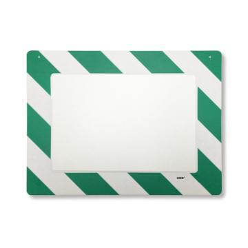 悬挂式区域标识框(A3-绿白)-透明PC材料,可插入A3纸张,绿白边框,398×522mm