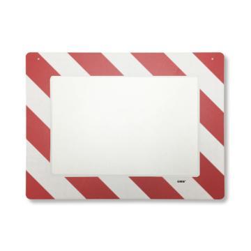 悬挂式区域标识框(A4-红白)-透明PC材料,可插入A4纸张,红白边框,398×312mm
