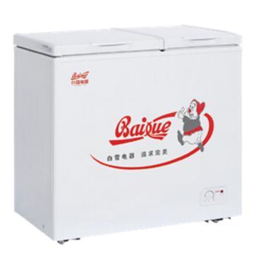 白雪 175L大冷冻小储藏顶开门冰柜,BDX-175D,顶开式盖门自平衡铰链,大冷冻、小冷藏,黄金比例空间分配