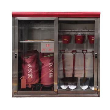 消防器材柜,不锈钢钢板厚度1.0mm,2200×2200mm(高×宽),不含门厚度550mm,灭火器橱窗高度不低于1500mm(定制款,仅限云南)