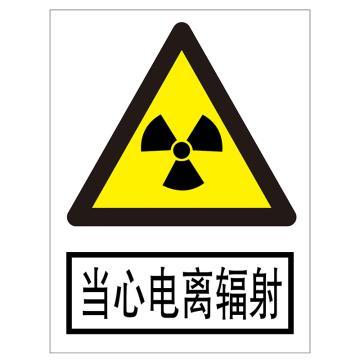 电力安全标识,当心电离辐射,不锈钢雕刻烤漆,300*240*0.7mm