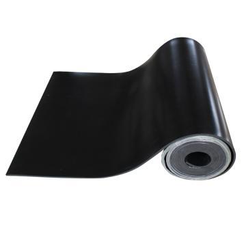 华泰 耐高压光面平面绝缘垫, 绝缘胶板 黑色 3mm厚 1m宽 5米/卷 5kv 单位:卷
