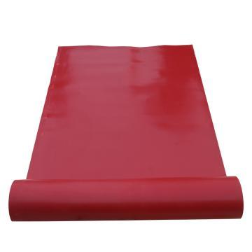 华泰 耐高压光面平面绝缘垫,绝缘胶板 红色,5mm厚 1m宽 10米/卷,10kv