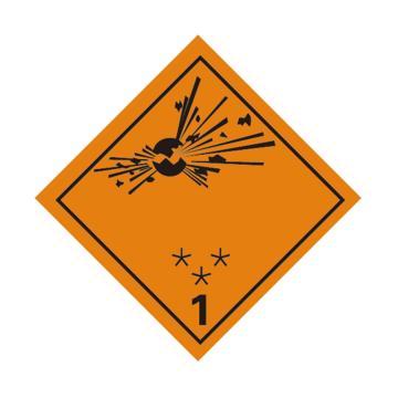危险品标识(爆炸性物质或物品 1)- 高性能不干胶,100mm×100mm,20张/包