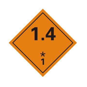 危险品标识(1.4 爆炸性物质或物品 1)- 高性能不干胶,100mm×100mm,20张/包