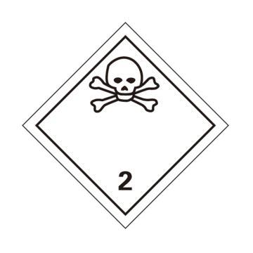 危险品标识(毒性气体 2 )- 高性能不干胶,100mm×100mm,20张/包