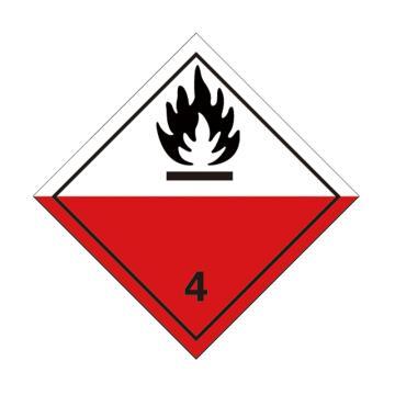 危险品标识(易于自燃的物质 4 )- 高性能不干胶,100mm×100mm,20张/包