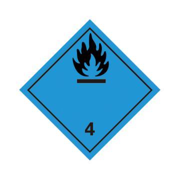 危险品标识(遇水放出易燃气体的物质 4 )- 高性能不干胶,100mm×100mm,20张/包