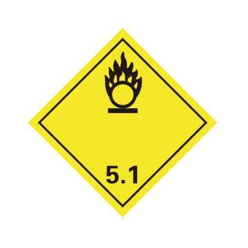 危险品标识(氧化性物质 5.1 )- 高性能不干胶,100mm×100mm,20张/包