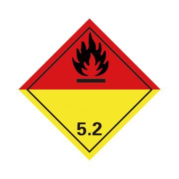 危险品标识(有机过氧化物 5.2 )- 高性能不干胶,100mm×100mm,20张/包